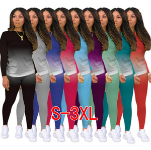 Femmes Tracksuit Designer Vêtements 2021 Gradient Tenue de jogging Supposements de jogging Dames Nouvelle mode Casual Sportswear DHL 9 Couleurs 823
