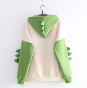Fashion Cute Cartoon Women Sweatshirt Long Sleeve Splice Dinosaur Hoodies Sweatshirt Tops Ropa Mujer Print Casual Harajuku Thick