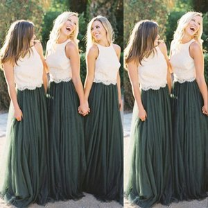 2021 Vintage Green and Ivory Bridesmaid Dresses Sleeveless Lace Two Piece Tulle Floor Length Custom Made Maid of Honor Gown Country Wedding