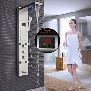 패널 수도꼭지 블랙 니켈 LED 폭포 샤워 패널 벽 샤워 강우량 욕실은 손 분무기 1011 샤워 패널의 열을 탑재