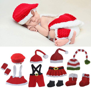 Newborn Baby Photography Props Accessories Boys Girls Crochet Knit Christmas Photo Props Baby Hat Caps Newborn Costume Outfits
