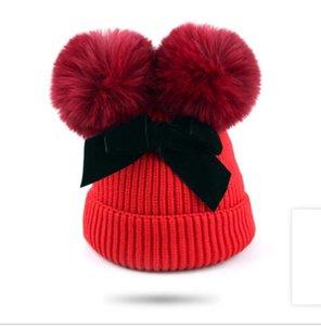 Sombreros de punto crochet pom pom gorro gorro sombrero niños arco lana tejida gorras cálidas tapa de la tapa de los niños de la tapa de los niños de la tapa de los niños de los niños de los niños de la cabeza