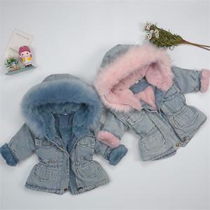 1-5Y Baby Girls Denim Plus Velvet Thicken Jacket for Children Clothes Winter 2020 New Kids Boys Big Fur Collar Outwear Coat 0930