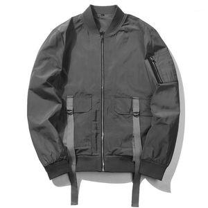 Европа Размер Повседневная Мужчины Высокая уличная Стиль Простой Сплошной Цвета Куртка Пальто Мода Бейсбольный Костюм Мужской Куртка Одежда Cood1