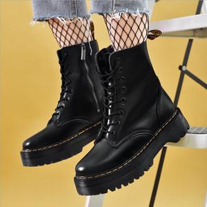 Vendita calda-donne martin stivali stivaletti caviglia scarpe da caviglia in vera pelle scarpe piattaforma piattaforma piattaforma flat femmina stivali da combattimento moto grosso