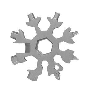 눈송이 멀티 도구, 스테인레스 스틸 멀티 톨 카드 조합 컴팩트 휴대용 야외 제품 18 in 1 Snowflake Tool Card HWB2611