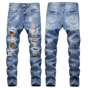 trendy men's color contrast small straight jeans with holes scratched and hand painted and painted men's trousers