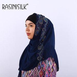 Bubble Chiffon Women Scarf Wrap Summer Plain Long Shawl Muslim Hijabs Headscarf Exquisite Rhinestone Voile 70x170cm