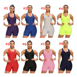 Women Sleeveless Bodysuit Jumpsuit Shorts Rompers One Piece Pants Sexy Backless Overalls Fitness Gym Yoga Sportswear Clothing S-XL F92804