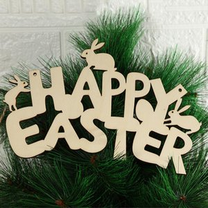 Happy Easter Rabbit Wooden Pendants Wood Letters Craft Ornament DIY Hanging Pendants Cute Bunny Easter Decoration Party Gifts E122504