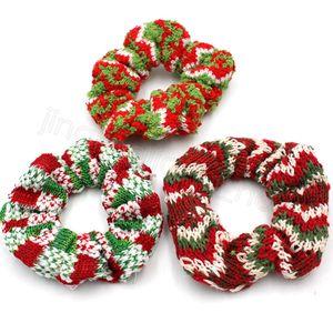 Wolle gestrickte Scrunchies Frauen-Mädchen-Weihnachtshaar-Band Weihnachten rot grün gestreiftes Scrunchy elastische Haar-Seil-Pferdeschwanz-Haar-Riegel-Halter FFA4478-2