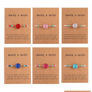 Handmade Druzy Resin Stone Bracelet Make A Wish Card Wax Rope Braided Bracelets Bangles With Rice Bead For Women sqcOaC beauty888