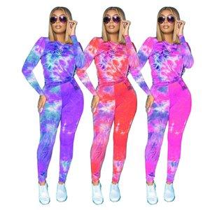 Nouveau Cravate Dye Femme Deux Pieces Pantalons Casual Col Col Tracksuits Slim Designer Femmes 2pcs Ensembles