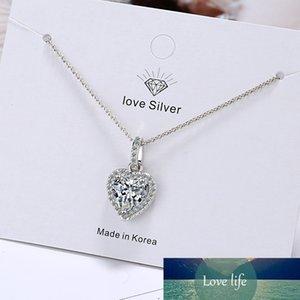 Nouvelle Arrivée 100% 925 Sterling Sterling Argent Romantique Cœur Shine Cubic Zirconia Dames Collier en gros bijoux pour fille
