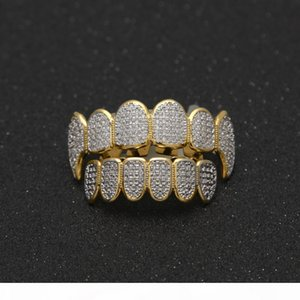 Hip Hop Grillz For Man High Quality Full Diamond Hiphop Grillz Gold Siver Jewelry Men Fashion Hip-Hop Jewelry Wholesale