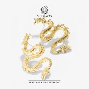 Vedawas أنيقة التنين شكل أقراط للنساء 2020 الأزياء والمجوهرات العرقية الذهب اللون بيان المعادن القرط أنيقة قطرة القرط