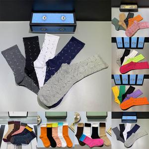 2021 Tasarımcılar Erkek Bayan Çorap Beş Marka Luxe Spor Kış Örgü Mektubu Baskılı Çorap Pamuk Adam Hediye Için Kutusu Ile Femal Çorap