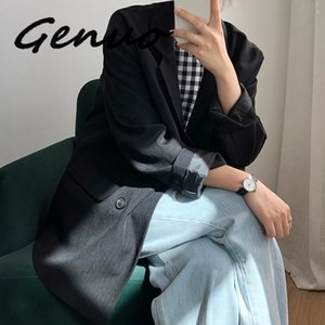 Genuo New 2020 Autumn Winter Women Black Blazers And Jackets Vintage Khaki Loose Womens Blazers Long Sleeve Coat