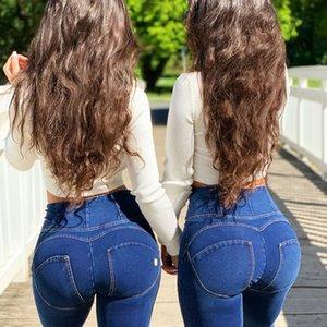 Melodía Cuatro maneras Pantalones de ajuste de alto nivel estirables en el estiramiento Denim Jeans Mujer Gota Envío