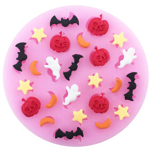 Forma Halloween Estrela abóbora Lua Bat Silicone Bolo Mold Doce argila Chocolate Fondant Mold Tools DIY decoração do bolo