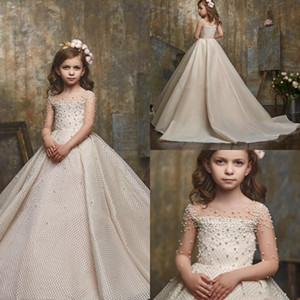 Luxury Beautiful Flowers Girls Pageant Dress Long Sleeves Beads Kids Prom Gowns Beads Ball Gown Flower Girls Dress