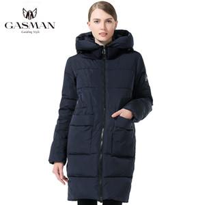 GASMAN manera de la mujer ropa de invierno por la chaqueta con capucha Parka longitud media capa ocasional más el tamaño de invierno engrosamiento 6XL 7048 201007