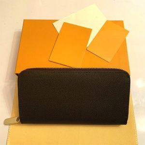 Venta al por mayor 20 colores moda solo cremallera hombres mujeres cuero billetera señora ladies largo bolso con caja de caja naranja 60017
