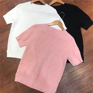 new fashion women''s college style short sleeve o-neck color block knitted logo letter jacquard weave hollow out womens sweaters