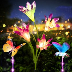 Solar lily butterfly hummingbird fiber optic fairy tale light string waterproof Christmas outdoor garden holiday decoration lights