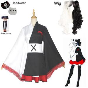 2020 Monokuma Cosplay Kostüm Danganronpa Kadının Cosplay Peruk Kuma Coat ve Etekler Suit Halloween Kız Anime Kostüm