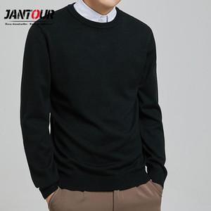 Suéter que hace punto del color puro O-Cuello Jantour 2020 Marca Otoño Nuevo Hombre para Hombre de manga larga Tops Jerseys tamaño grande L-5XL