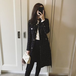 Autumn and Winter New Korean Version of the Ladies Thick Tweed Small Fragrance Slim Long Woolen Windbreaker Trench Coat