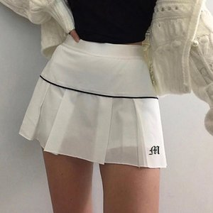 Jaycosin White Pleated Short Women Skirts Sexy Preppy Style Summer Letter Embroidery Mini Tennis Skirt 2021 New