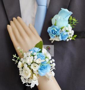 Handgemachte Korsäuren Blau Rose Braut Hochzeit Liefert Bräutigam Boutonniere Braut Brautjungfer Handgelenk Blume Künstliche Blume FS101