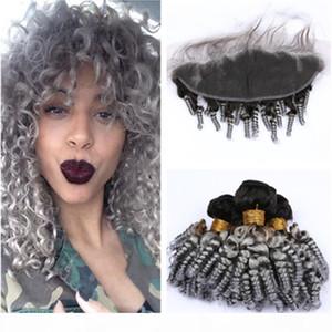 Bouncy Curly Ombre Silver Grey Indian Vierge Vierge Human Cheveux Tissu avec frontal # 1B Grey Ombre Funmi Bundles de cheveux avec une fermeture frontale en dentelle 13x4