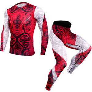 3D Print Compression T-shirt Leggings Set Mens Running Sport Quick dry Sportswear Pants Male Gym Fitness Training MMA Clothing