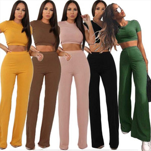 Women knitted long sleeve o neck crop top wide leg pants 2 piece set for female women tops pants two pieces sets