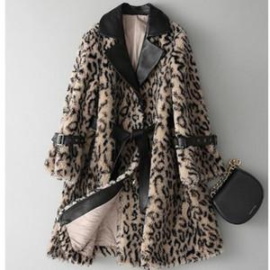Womens Fashion Winter Lapel Faux Wool Coats Warm Faux Fur Leopard Coat Loose New Furry Belt Long Plus Size S-4XL 2021