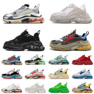 zapatos balenciaga balenciaca triple s zapatillas de deporte de moda suela transparente casual dad shoes hombres mujeres plataforma 17FW paris vintage old crystal bottom designer