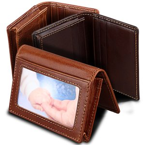 BLEVOLO Large Capacity Business Card Bags Women Men Leather Coin Pocket Bank Photo Card Holder Vintage Designed ID Cards Cover