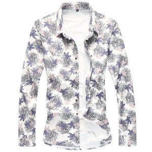 Shirt Men Long Sleeve High Quality 2020 New Fashion Floral Spring Autumn Casual Shirts Clothes kg-64