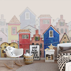Custom Photo Wall Mural Wallpaper For Kids Room City Building Cartoon Hand Painted House Bedroom Decoration Papel De Parede