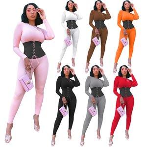 2020 Nova Mulheres manga comprida macacões moda painéis macacãozinho maior tamanho bodysuits magras macacão Casual 8201