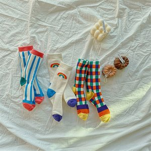 EnkeliBB 3 Pair Bambino Moda Arcobaleno Calzini per tubi arcobaleno Elegante calzini di cotone per ragazzi e ragazze European American Style Bambini Bambini C1226