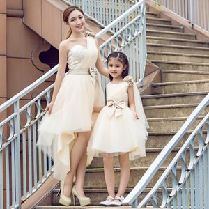 Family Matching Outfits Summer Mom Daughter Dresses Autumn Princess Wedding Dress Clothes Sleeveless Look