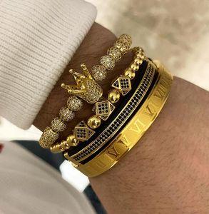 3pcs set+Roman numeral titanium steel bracelet couple braceletfor women men luxury jewelry ps1441