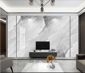 Grey Marble Wallpaper for Bedroom TV Backsplash 3D Wall Mural Wall Papers Textured Wallpaper Luxury Home Decoration Custom1