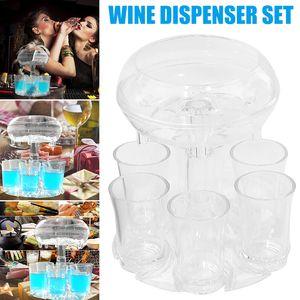6 Shot Glass Dispenser Holder With 6 Cups Shot Buddy Wine Cocktail Fast Fill Tool Cooler Beer Beverage Drink Dispenser Bar Accessories W92