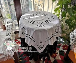 Junwell 100% coton à la main crocheté nappe dentelle Shabby confortable cutwork Vintage Table Topper Tablecloth
