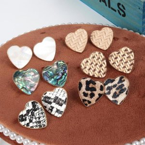 Heart Stud Earrings Nature Abalone Shell Lafite Leopard Print Jewelry For Women